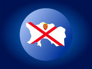 map and flag of Jersey globe illustration